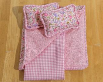 "18"" doll bedding #American Girl Doll bedding #three coordinating #pink fabrics #reversible"