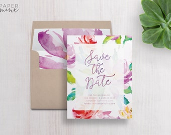 Save the Date | Printed Save the Date | Floral Invitation | Bright Flowers Save the Date | Pink and Purple Floral Invitation | Flower | Isla
