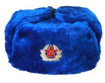 Russian / USSR Army winter light blue fur Ushanka Hat + Soviet Red Star badge Sizes S,M,L,XL,XXL