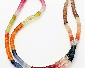 """Natural Multi sapphire faceted heishi beads ,3 mm Approx ,16""""strand [E0569] Excellent quality Multi sapphire heishi"""