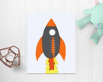 Rocket Digital Wall Art, Rocket Digital Art, Printable Art