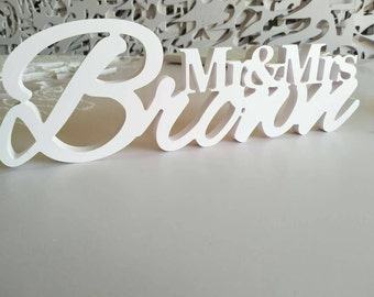 """Custom white letter Mr and Mrs Last Name Wedding Table Sign Decor 6"""" Tall Center Piece Decoration Personalized White PVC"""