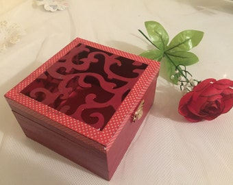 Red Wooden trinket/jewelry box