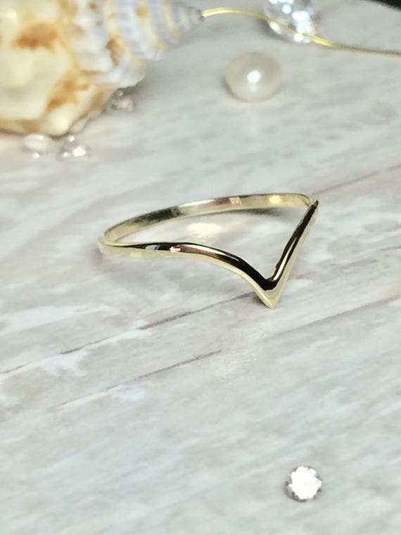 SALE 14k 10k Solid Gold La s Chevron Ring La s Dainty