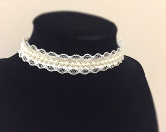 Pearls On Beading Lace Choker