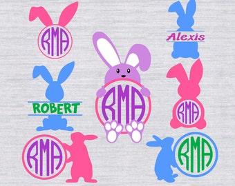Easter Monogram Frame svg, Easter monogram SVG, Easter svg bundle, easter bunny svg, svg files for Silhouette, cricut, SCAL, cut files, dxf