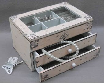 White jewelry box pink shabby chic ornaments 2 drawer lid with glass shabby white jewelry box gift women