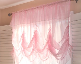 Pink Sheer Shabby Chic Balloon Curtain Shade