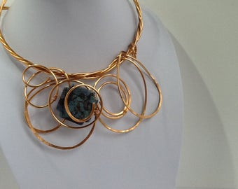 Copper wire.Statement.Chunky.Unique.Wearable art.Bold.