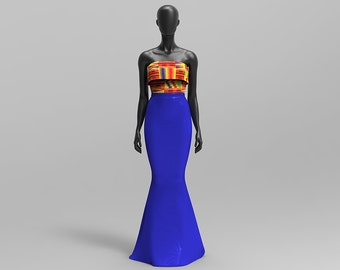 African Print/ Kente Evening Strapless Gown, Prom Dress, Bridesmaid Dress