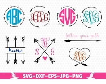 Arrow Svg Arrow Monogram Svg Circle Arrow Svg Monogram Frame Svg Tribal Hand drawn Tribal arrows SVG digital cut file