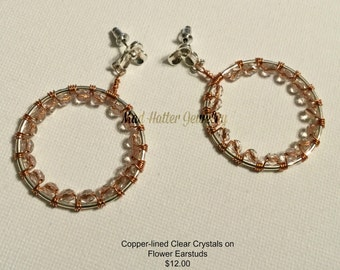 Copper-lined Clear Crystals on Flower Earstuds