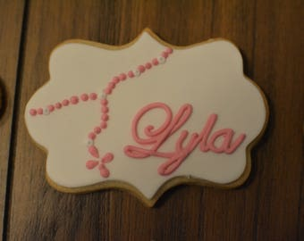 Communion /Baptism Cookies - Name Plaque w/ Rosary