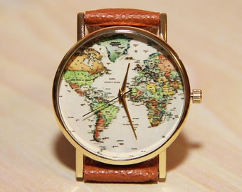 Watch World Map, women's watches, men's watches, travel clocks, globuz watches, earth, wedding watches, gift