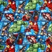 cr6305 - 1 Yard Springs Creative Cotton Woven Fabric - Marvel's Avengers Grid, Captain America, Hulk, Iron Man, Thor - Blue (W105)