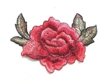 Red embroidered floral patch