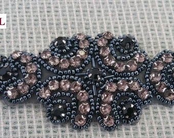 Beaded applique with rhinestone