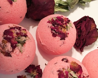 Rose Petal Fizziez - Rose Petal Bath Bombs - Flower Petal Bath Bombs - Flower Bath Bombs - Flower Bath Fizzy - Rose Bath Fizzy - Rose Bath