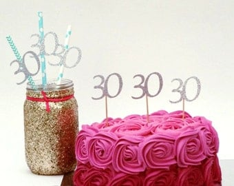 30th cupcake toppers- Silver-  30th Birthday cupcake toppers