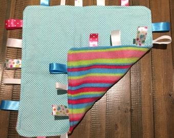 Rainbow baby taggie blanket  boy or girl