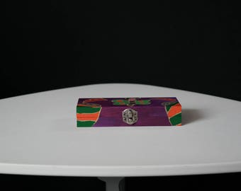 Hand painted wooden chest purple