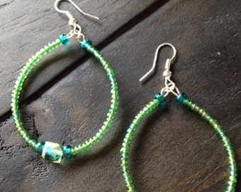 Green beaded Translucent Hoop Earrings