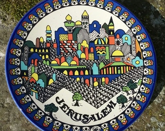 TAMIMI plate ceramic craft of Jerusalem, painted a hand