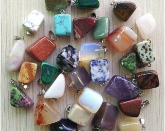 50 Pcs Assorted Stone Pendants