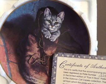 """Victorian Cat Capers china/plate collection """"Puss in Boots"""" -porcelain,numbered,banded 22 k gold"""