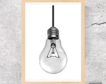 Printable Art Light Bulb Print Light Bulb Wall Art