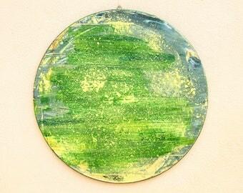 Green circle-art-abstract painting on canvas colors green and yellow circular