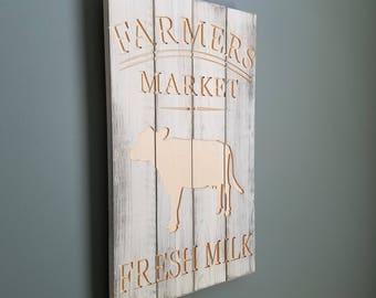 Rustic Farmers Market Fresh Milk sign