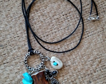 Deer antler charm necklace