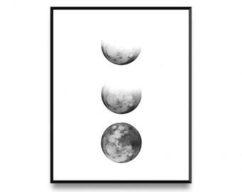 Moon phase print, lunar phases print, moon poster, moon phases, moon phase poster, moon phase wall art, moon print, moon art, printable art