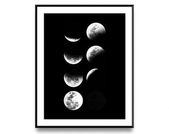 Moon phase print, lunar phases print, moon poster, moon phase, moon phase poster, moon phase wall art, moon print, moon art, printable art