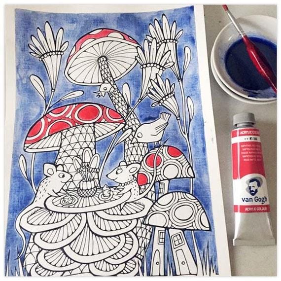 Printable Mushrooms Mice Sweethearts Colouring Page