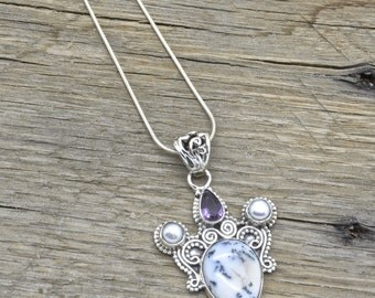 """Vintage Sterling Silver Dendritic Opal Pendant 925 Jewelry With 18"""" Chain"""