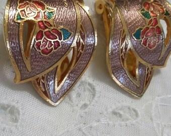 Vintage cloisonne clip on earrings