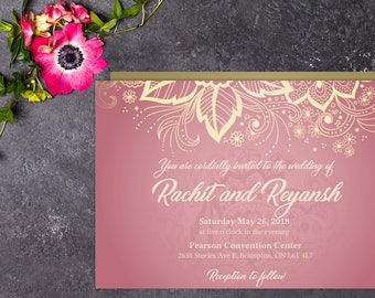 Printed Classic Wedding Invitation, Classic Wedding Invitation, Indian Wedding, Henna Invitation, Hindu Wedding, Printed Wedding invitation