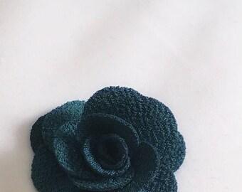 Forest Green flower lapel pin