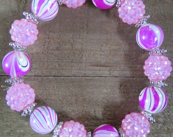 Pink swirl beaded stretch bracelet