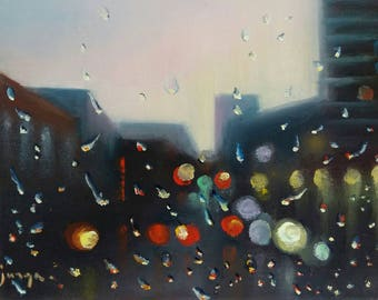 Morning after the rain, hyper realistic painting, oil on canvas.