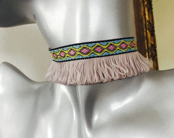 Tribal Embroided Tassel Feather Choker