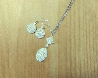 Bridesmaid Jewelry Set Swarovski Crystal Splash Earrings and Necklace, Silver, Evening, Elegant, Handmade Jewelry for Women, Birthday Gift