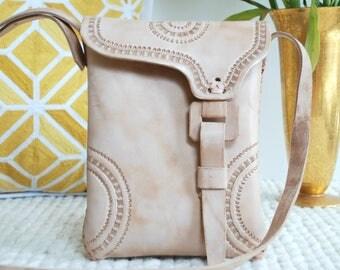 Leather Bag Handmade, Hand Tooled Purse, Crossbody Handbag, Mexican Handmade Purse