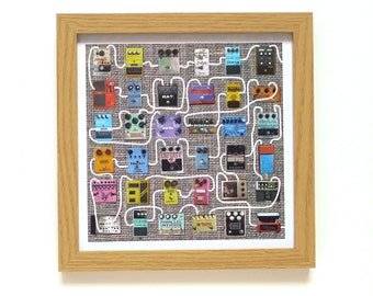 Guitar Pedals | Fuzz Box Art Print | Framed Print For Him | Collections Picture | Square Photographic Print | Nostalgia | Music | Stomp Box