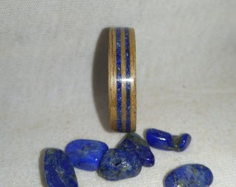 Lapis Lazuli and Oak double inlay bent wood ring