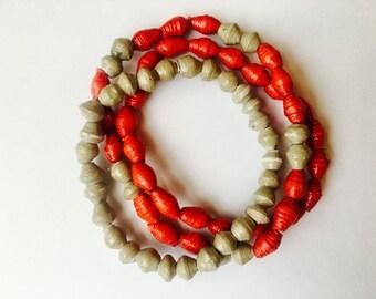Red and Grey Bracelet Trio