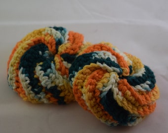 Face Scrubbies Set - Orange and Green