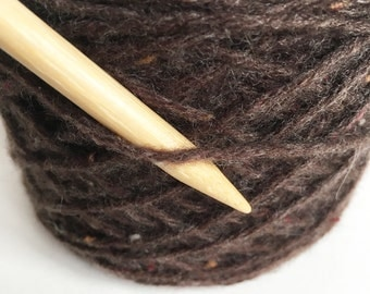 Recycled WOOL / CASHMERE Worsted Aran Weight Brown Tweed Yarn